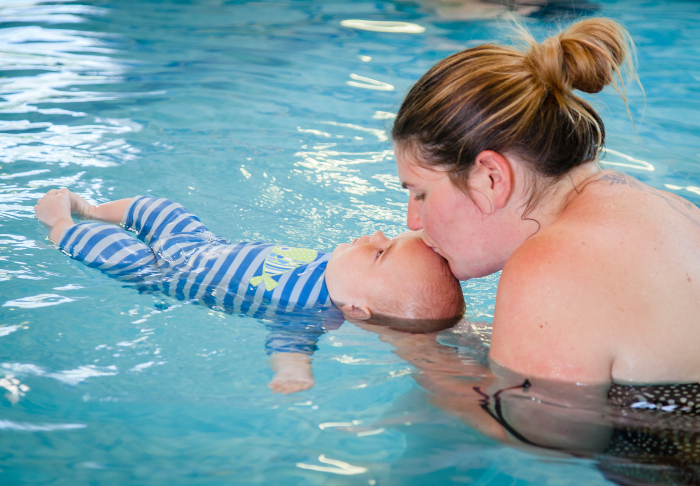 Baby with Mum swimming